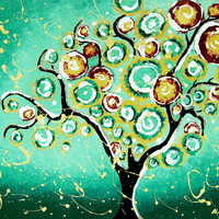 Giclee Art Print Tree of Life Turquoise Christmas 11x14 by hjmart