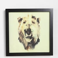 Dan Mountford Double Exposure Lion Art Print