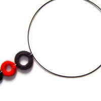Crochet Necklace, Crochet Circles Necklace, Geometric Necklace, Statement Jewellery, Black Red Grey, Gift for Her, OOAK