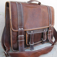Mens leather satchel leather messenger bag vintage retro look