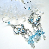 Swarovski 5301 Aquamarine and Crystal Moonlight Chandelier Earrings