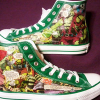 The Incredible Hulk - Bruce Banner  - Marvel Comics - High Top Converse - Comic Book Shoes