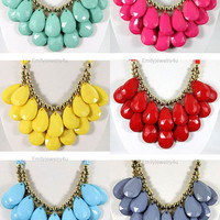 NEW Chunky Droplet Cluster Statement Necklace Set, 6 Colors For Choose,2 Layers Necklace, Bib Necklace,Bubble Necklace-BN0290