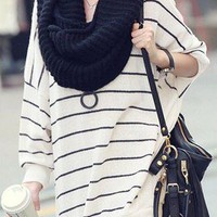 Simple Wish Stripped Oversized Soho Pullover Cotton Sweater Coat 16-33 OS