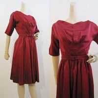 50s 60s Dress Vintage Cranberry Red Satin Holiday Party Dress S XS