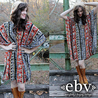 Vintage 70&#x27;s Ethnic Print India Hippie Boho Kimono Caftan Mini Dress S M L XL PLUS SIZE