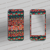Iphone 5 4 4s Skin - Vintage Print -decal sticker - Cali