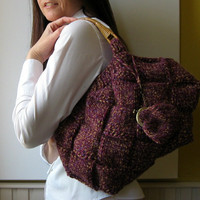 Tote Bag Marbled purple and mustard Handknitted in by branda