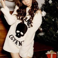 Cute Cartoon Skull Pattern Junior Winter Blouses : Wholesaleclothing4u.com