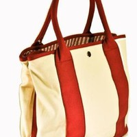 THE BIG BAG THEORY - Satchels New York 5170RS Small Cream/Burgundy Tote Bag