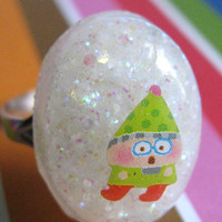 Funny Christmas Elf Resin Ring