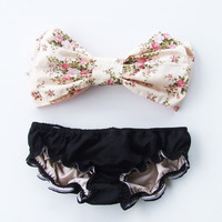 Vintage Bow Bandeau Sunsuit Bikini style.DiVa Halter Neck. Floral and Black Sunkini Sunbathing. Sexy and cute.