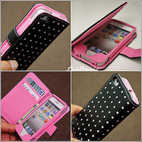 Pink Dot Wallet Leather Card Holder Pouch Case Cover For iPhone