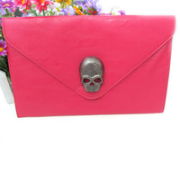 Lady Women Envelope Clutch Chain Purse HandBag Shoulder Hand Tote Skull Bag