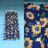 1990s. high waist sunflower a line skirt. s-m