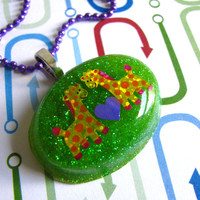 Happy Giraffes In Love Resin Necklace