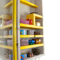 Yellow wall mounted rustic Jewelry Organizer