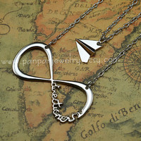 Harry Styles Inspired - Paper Airplane and One Direction Infinity Charm Necklace SET