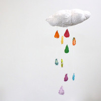Dreamy Rainbow Cloud Mobile  Cloudy with a chance by BabyJivesCo