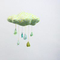 Lucky Little Cloud Mobile  Raindrops keep falling by BabyJivesCo