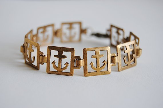 Anchor Bracelet  Vintage Brass  Nautical  Free by SPARKLEFARM