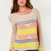 Alps, I Did It Again Beige Print Sweater