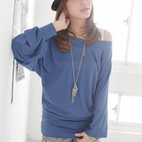 Wholesale Off Shoulder Blue Loose Sleeve Blouses : Wholesaleclothing4u.com