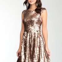 bebe Low Back Fit &Flare Sequin Dress