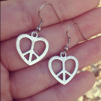 Heart Peace Silver Earrings
