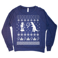 Womens Geek Ugly  Christmas Sweater Print Long Sleeve Sweatshirt Pullover (American Apparel Navy)