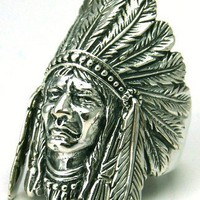 Indian Chief Size 8 Sterling Silver Ring Moving Feather | eBay