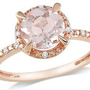 Amazon.com: 10k Pink Gold 1 1/6 CT TGW Morganite 0.05 CT TDW Diamond Fashion Ring (G-H, I1-I2): Jewelry
