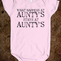 What happens at Aunty's-Unisex Light Pink Baby Onesuit 00
