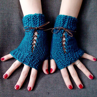 Fingerless Gloves Corset Wrist Warmers Handknit in Dark Ocean Blue/ Teal Victorian Style