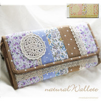 Handmade Japan Floral Patchwork Lace Checkbook Vintage Leather Bifold Wallet