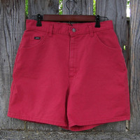 "Vintage 1990s high waisted shorts / cherry red denim shorts / LEE denim / summer shorts cotton shorts / 31"" waist"