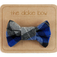 Plaid Dickie Bow. Blue Tartan Bowtie Pin. Vintage Wool Tweed Necktie for Men. Black Grey Blue Colorway.