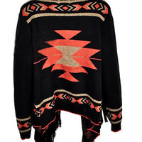Vintage Navajo chic Sweater Cardigan ✿Boho Gypsy People Chic Free Size