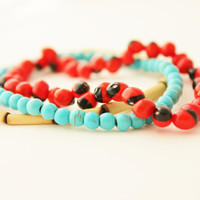 seed bead bracelet set huayruro seed bamboo and turquoise bracelets set of three red blue beige indie tribal
