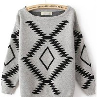 Geometric Diamond Pattern Sweater Gray S005699