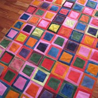 Bright Dyed Cow Hide Patchwork Rug | materialicious