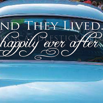 Wedding Getaway Car Decals And They Lived by WicksnCandlesticks