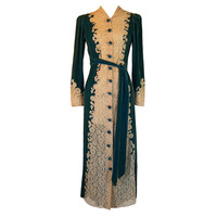 1930s Silk Velvet  Lace Morning Robe
