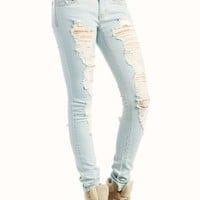distressed skinny jeans 7 LTBLUE