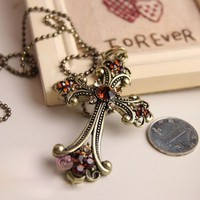 Vintage Champange Cross Long Chain Pendant Necklace