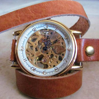 Ladies New Elegant Skeleton Leather Mechanical Wrist Watch. 20% Off - 79 Dollars Only. Xmas Gift FREE SHIPPING