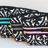 Small Black White Wristlet Makeup Bag/Cosmetic/Zippered Pouch Choice of Color