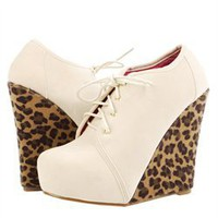 Privileged Ivy Stone Velvet Lace Up Leopard Wedge Boots and Womens Fashion Clothing & Shoes - Make Me Chic