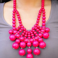 Big Bold Bubble Necklace: Fuschia | Hope's