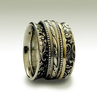 Sterling silver meditation filigree band with by artisanlook